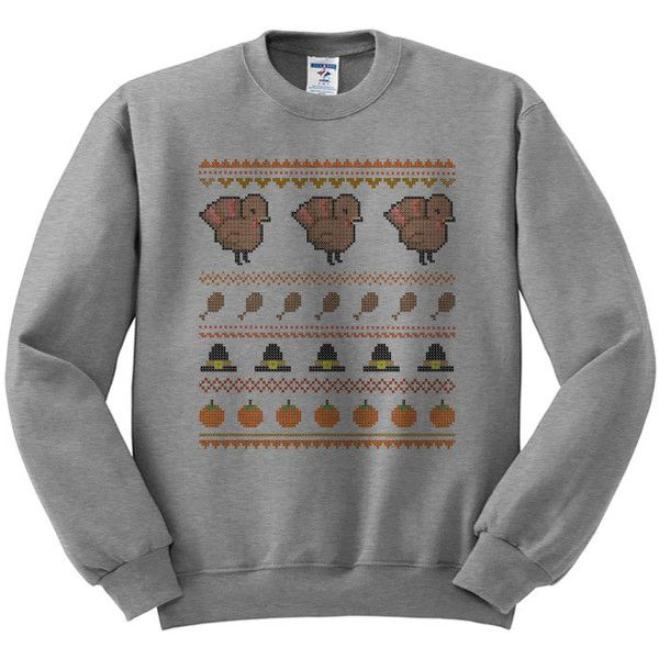 Crewneck Ugly Turkey Sweater Thanksgiving Sweater Womens Ladies Outfit... ($18) ❤ liked on Polyvore featuring tops, sweaters, tops/outerwear, oversized sweaters, fleece tops, unisex sweaters, crewneck sweater and crew neck tops