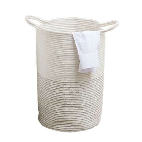 Made from cotton with a hand-made rope design, this white laundry basket features a collapsible structure and two large handles for easy transportation....