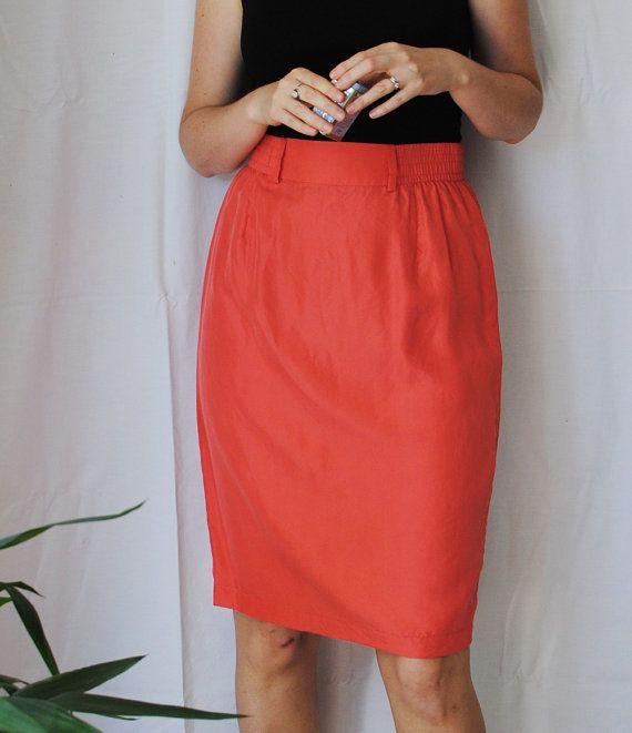 Silk Skirt // Coral High Waist Pencil Skirt