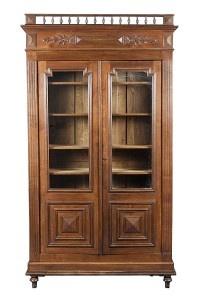 Antique French Furniture Solid Oak Bookcase c1920