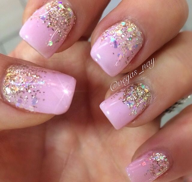 Light pink gel with an ombré sparkle nail design