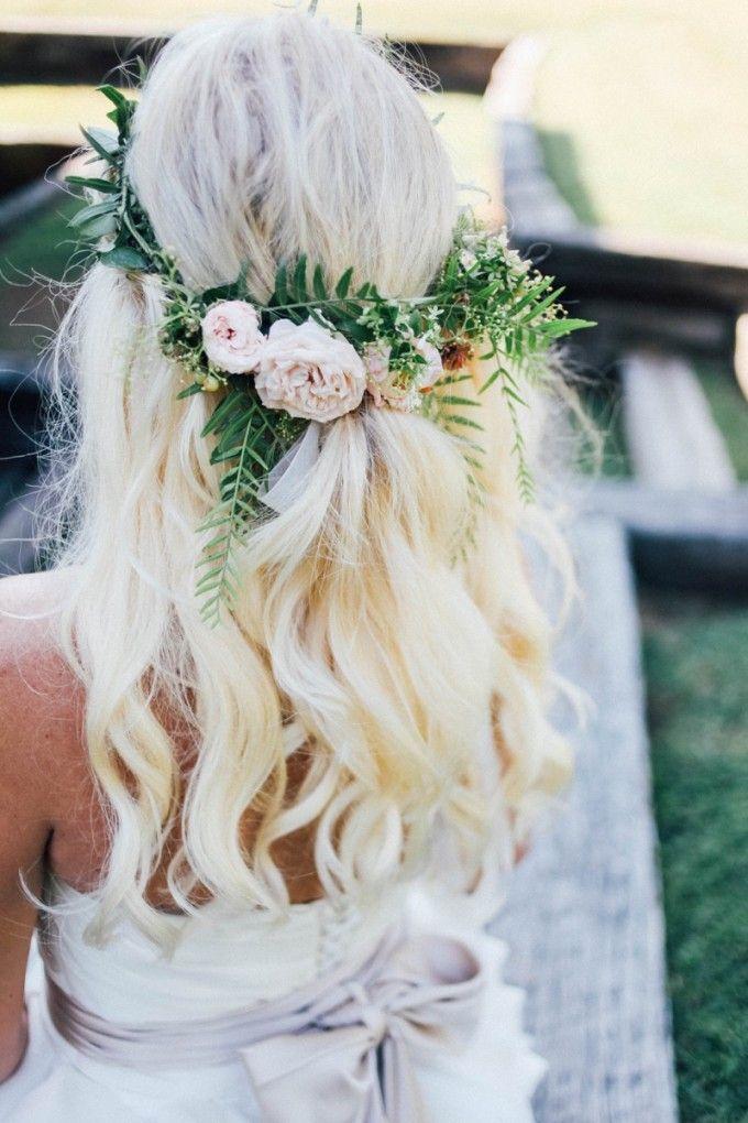 Wildly gorgeous flower crown for a bride with boho style #Cedarwoodweddings Intimate Treehouse Wedding :: Lora+Jeremy | Cedarwood Weddings