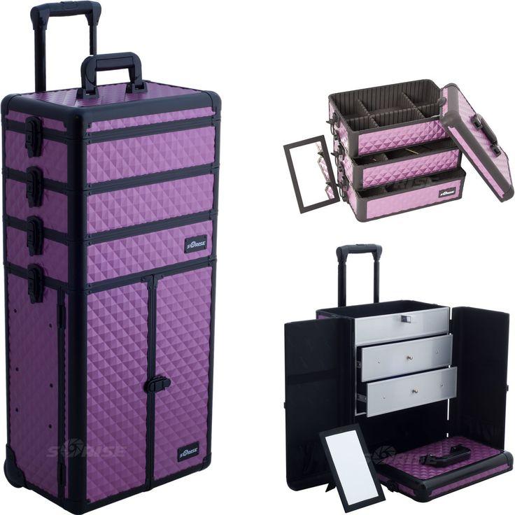 Purple Dmnd Trolley Makeup Case - I3366 - salonhive.com