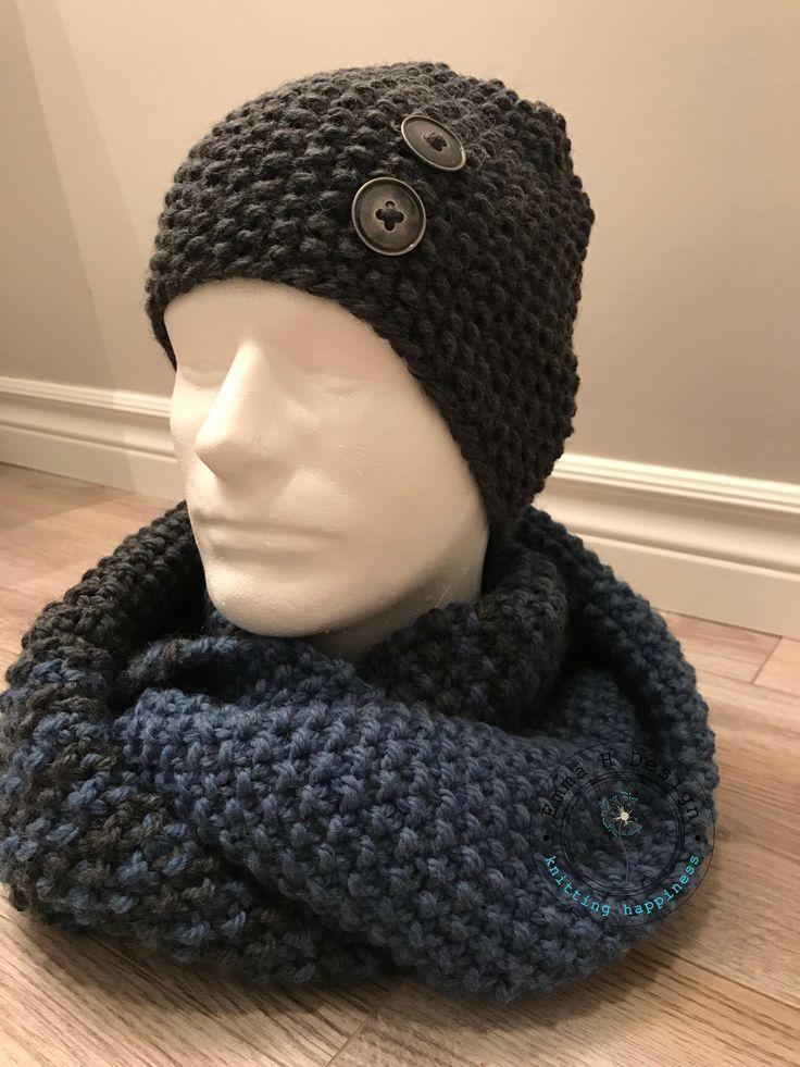 Ensemble bonnet et foulard infini pour homme, tricoté à la main en 100% laine, bleu jeans et gris charcoal - Produits fabriqués au Québec par Emma H Design