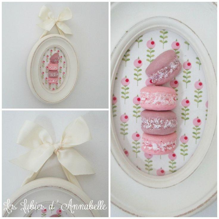 Cadre ovale Shabby Chic de macarons en plâtre