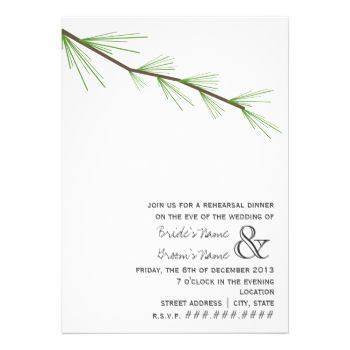 A simple wedding rehearsal dinner invitation featuring an illustration of a pine bough at top. Personalize the text at bottom right. Opposite side is blank. #wedding #winter #wedding #christmas #wedding #nature #wedding #pine #pine #tree #evergreen #wedding #rehearsal #dinner #modern #rehearsal #dinner #rustic #rehearsal #dinner #evergreen #tree #wedding #forest #wedding