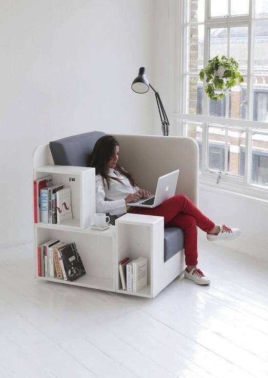 Muebles multifuncionales. Sillón tranformable con Libreria