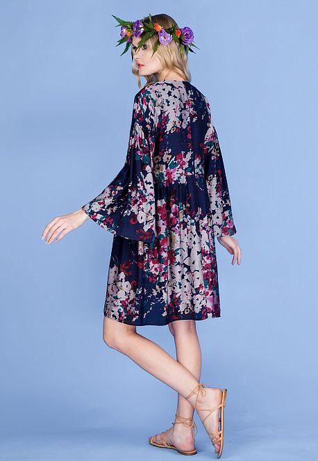 Платье с длинным рукавом из батист-шелка
