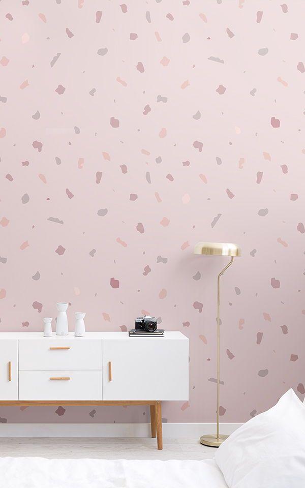 Dusky Pink Terrazzo Wallpaper Mural | MuralsWallpaper in ...