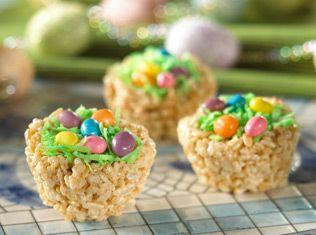 Rice Krispy Easter Baskets :): Desserts, Ideas, Birds Nests, Rice Krispies, Recipes, Easter Eggs, Easter Baskets, Easter Treats, Rice Krispie Treats