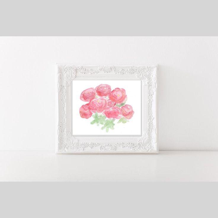 Pink flower wall art, floral wall art, Peony watercolor, Peonies nursery art, Pink peonies art, Peon   Scott's Marketplace