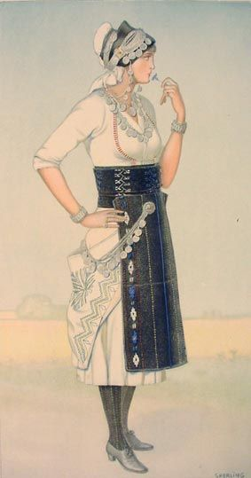 NICOLAS SPERLING Bride's Dress (Macedonia, Roumlouki) 1930 ilithograph on paper after original watercolour 37x20).