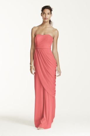 Breathtakingly beautiful, your wedding party will look beautiful in this Grecian inspired dress! Strapless bodice features pleating and a sweetheart neckline. Long soft mesh skirt with side draping provides an flattering silhouette. Fully lined. Side zip. Imported polyester. Dry clean only. Available in Extra Length sizes as Style 4XLW10482.