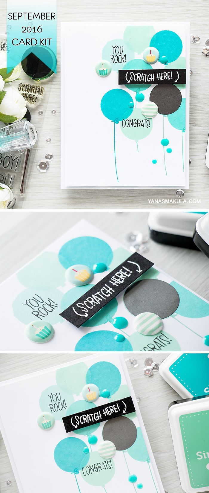 Get creative with Simon Says Stamp September 2016 Card Kit! Masculine Birthday card with a hidden message. For details, visit http://www.yanasmakula.com/?p=54836