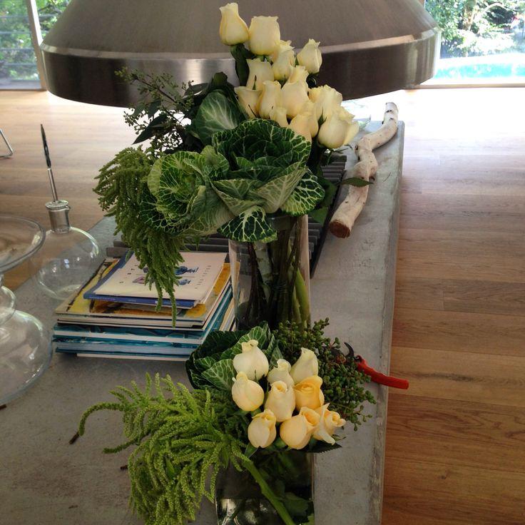 White roses flower arrangement