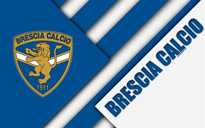Download wallpapers Brescia Calcio, 4k, material design, logo, blue white abstraction, emblem, Italian football club, Brescia, Italy, Serie B