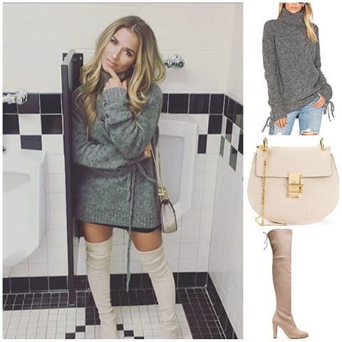 Jessie James Decker wore a Lovers + Friends sweater, Chloe bag, and Stuart Weitzman boots  Shopping info at www.starstyle.com  #jessiejamesdecker  #chloe  #starstyle #celebritystyle #loversandfriends #stuartweitzman #celebrityfashion #style  #streetstyle #fashion #ootd #lotd #fashionblog #styleblog
