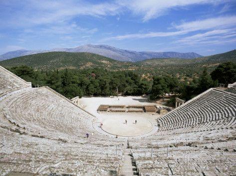 Ancient Greek Theatre, Epidaurus, Unesco World Heritage Site, Peloponnese, Greece, Europe Photographic Print by Oliviero Olivieri at AllPosters.com