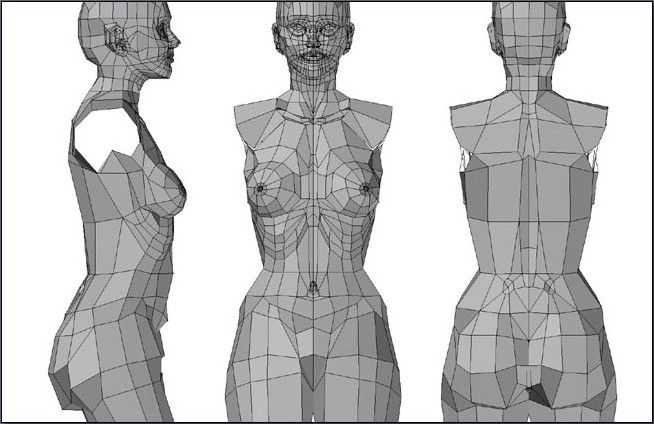 female upper body in low poly mode