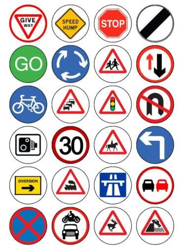 24 ROAD TRAFFIC SIGNS PRE-CUT FAIRY CUP CAKE EDIBLE RICE WAFER PAPER TOPPERS | eBay