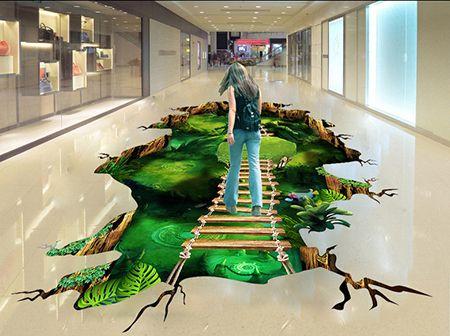 Décoration événementielle sol trompe l'œil 3D centre commercial - Passerelle sur vide monde mystérieux