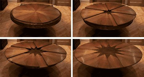 One of THE COOLEST designs for a table I have EVER SEEN! - Spinning the table makes it bigger.