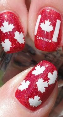 Canada Nail Art- I'm from the USA, but this IS cute....