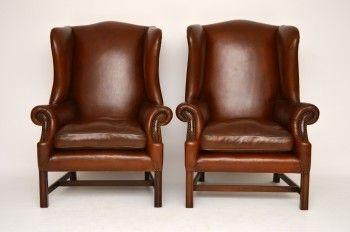 Antikes Paar Chippendale Ohren Leder Sessel