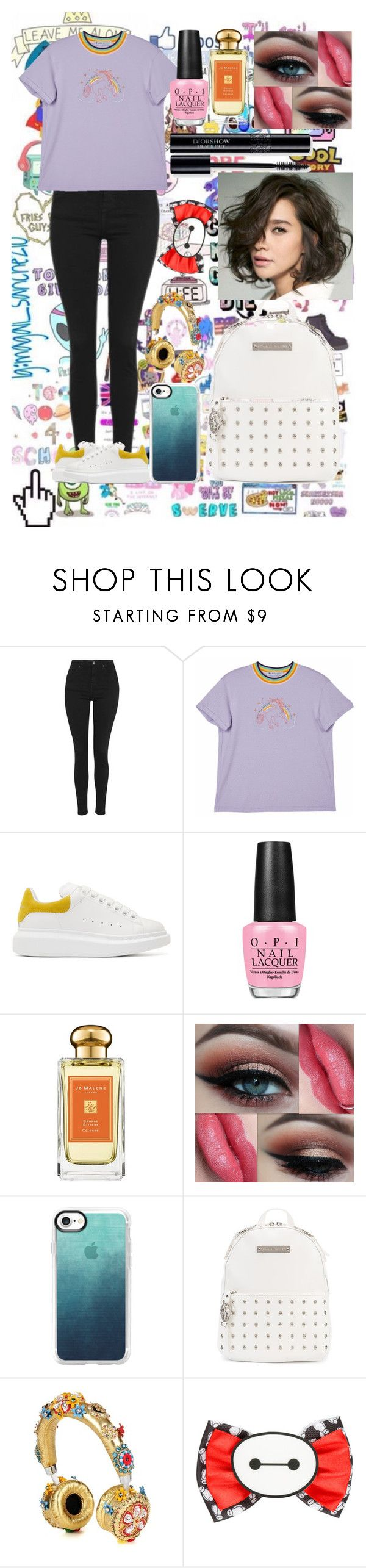 """""""School Ready"""" by nicoledesigner on Polyvore featuring Topshop, Alexander McQueen, OPI, Jo Malone, Casetify, Thomas Wylde, Dolce&Gabbana and Disney"""