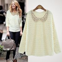 2015 nova primavera de luxo camisola das mulheres de mangas compridas lantejoulas mulheres Sweater bebê soltas camisola das mulheres com metros naturais