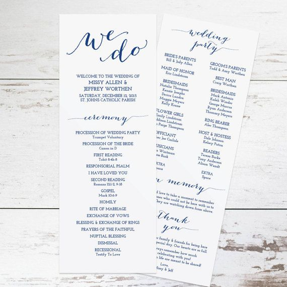 Printable Navy Wedding Program Template Rustic by KarlyKDesignShop