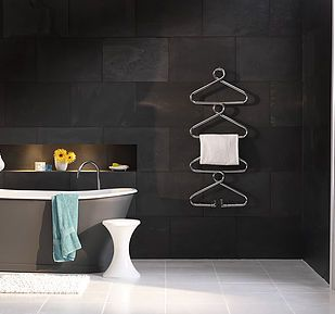 #Stylish #bathroom #furniture #interior #design #black #grey #tiles #coathanger #shape #radiator #blackbath #darkinteriors