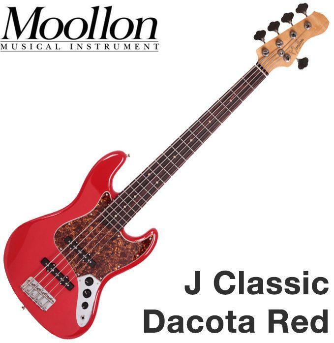 Moollon J Classic Jazz Bass 5 String Red 60's Style Sound Ebony Quarter-Sawn #Moollon #JazzBass