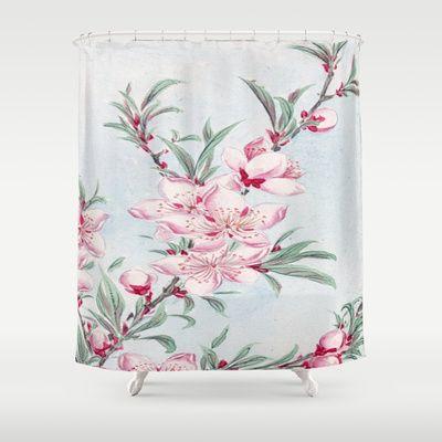 Peach Blossom Flowers Shower Curtain