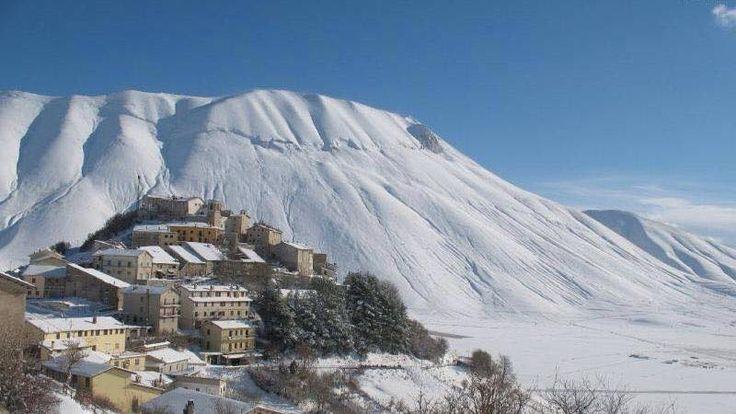 Maltempo in Umbria, nevicata in Valnerina
