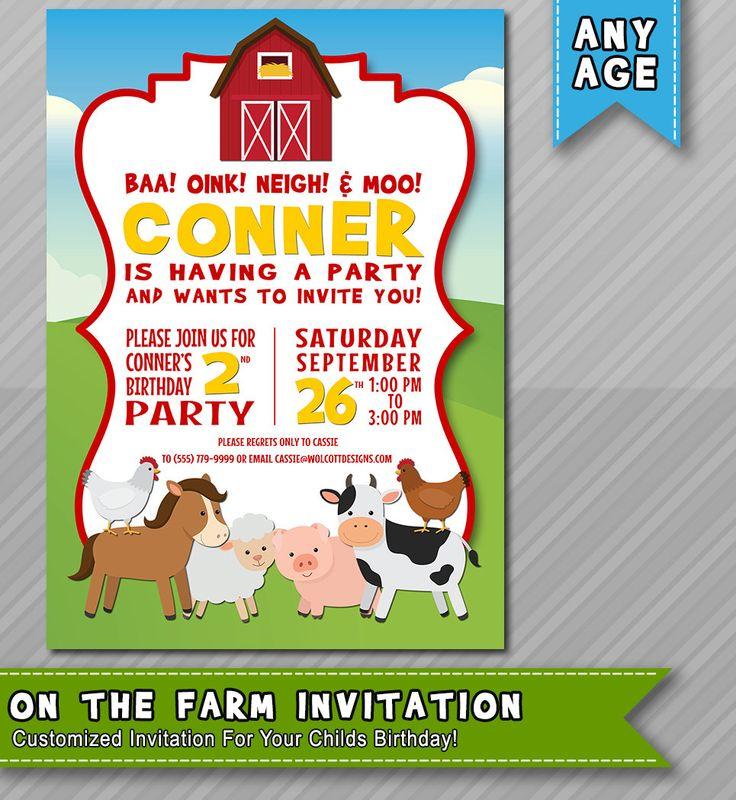 9 best Barnyard Birthday Invitations images on Pinterest | Farm ...