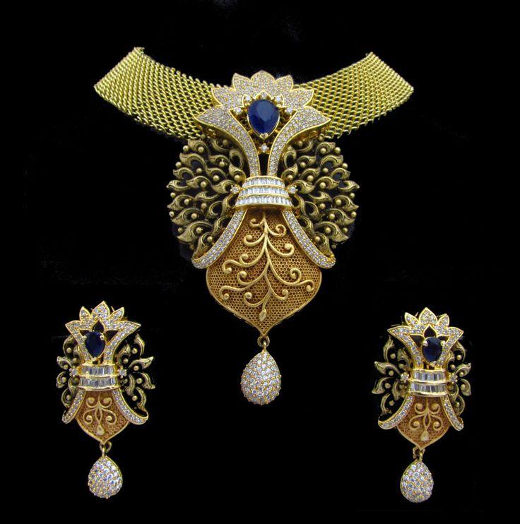 Indian CZ AD Bollywood Fashion Bridal Antique Finish Pendant Set Swam Jewelry877 #Unbranded