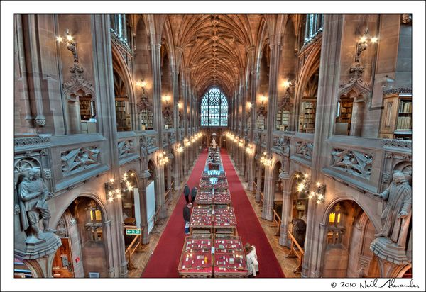 The John Rylands Library at the University of Manchester, England. Designed in Victorian Gothic style in 1889 by Basil Champneys as a memorial for textile millionaire John Rylands from his wife.