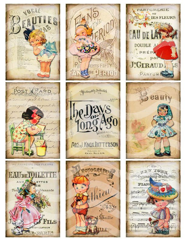 Retro Vintage Digital Collage Sheet, Vintage Girls Printable Download ATC/ACEO sized, cute for tags, cards, labels, scrapbooking. JPEG file.