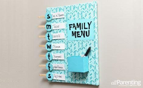 Organize your meals in style. This menu board is a super fun and easy DIY.