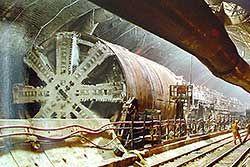 Tunnelbohrmaschine unter dem Ärmelkanal im Eurotunnel.