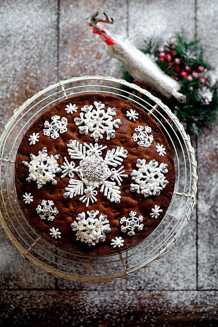 Not a huge fan of the fruit cake part.. But I would love to make white chocolate piped snow flakes on wax paper freeze them and put them on a chocolate cake! :)