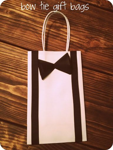 Black Bowtie and Tie Gift Bags with Suspenders for ring bearers, groomsmen, or ushers. Small Gift Size. Great Price!