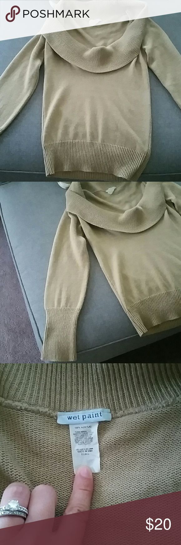 Lovely Woman's Cowl Neck Sweater Up for sale is a good condition nice womans cowl neck sweater. Its a size small but runs big more like a medium. Its good quality and is thick. Great for the work place or a cute day outfit to keep you snug! Brand is wet paint. Nice neutral color as well. Wet Paint Tops