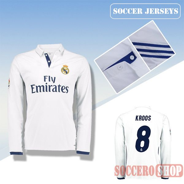 9e7c766f7 Xara Toni Kroos models the new home shirt Latest Real Madrid White 2016  2017 Home Long Sleeve Soccer Jersey With Kroos 8 Printing Replica ...