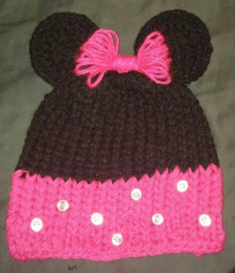 Knitted Minnie Mouse Hat Pattern : 198 best images about loom knit on Pinterest Knitting looms, Loom and Loom ...