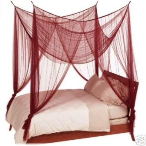 Octorose R 4 Poster Bed Canopy Netting Functional Mosquito Net Full Queen King Burgundy