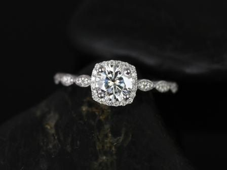 NEW Christie 14kt White Gold Diamond Cushion Halo WITH Milgrain Engagement Ring (Other metals and stone options available)