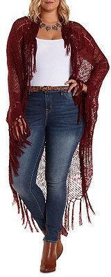 Plus Size Open Knit Fringe Cardigan Sweater