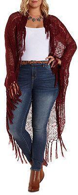 Plus Size Open Knit Fringe Cardigan Sweater